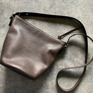 Coach brown leather bucket style crossbody